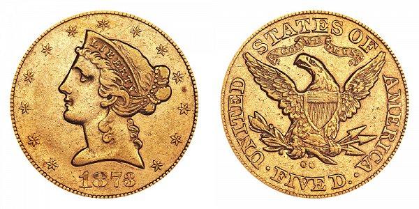 1873 CC Liberty Head $5 Gold Half Eagle - Five Dollars