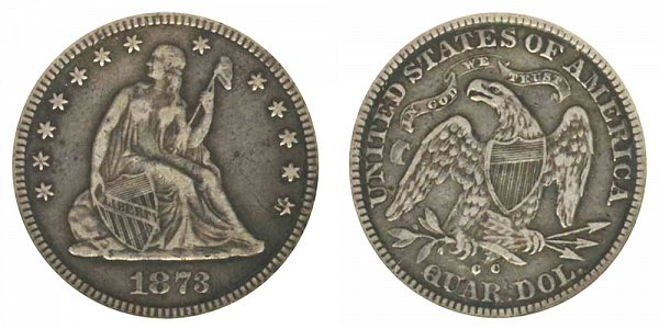 1873 CC Seated Liberty Quarter - No Arrows