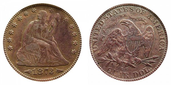 1873 CC Seated Liberty Quarter - With Arrows