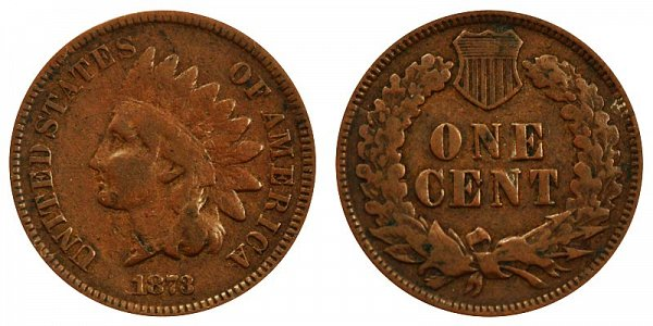 1873 Closed 3 Indian Head Cent Penny