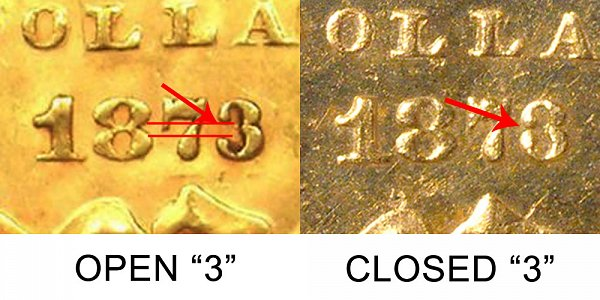 1873 Closed 3 vs Open 3 Large Indian Head Gold Dollar - Difference and Comparison