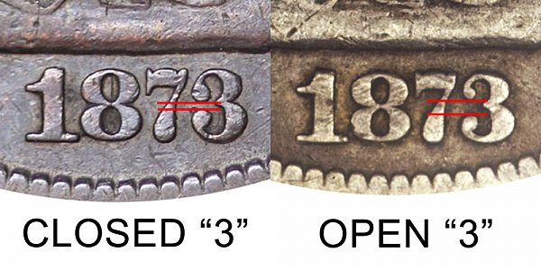 1873 Closed 3 vs Open 3 Seated Liberty Half Dollar - Difference and Comparison