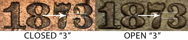 1873 Closed 3 vs Open 3 Two Cent Piece - Difference and Comparison