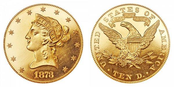 1873 Liberty Head $10 Gold Eagle - Ten Dollars