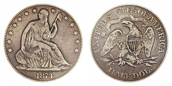 1873 Open 3 Seated Liberty Half Dollar - No Arrows