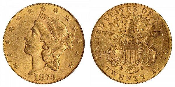 1873 S Open 3 Liberty Head $20 Gold Double Eagle - Twenty Dollars