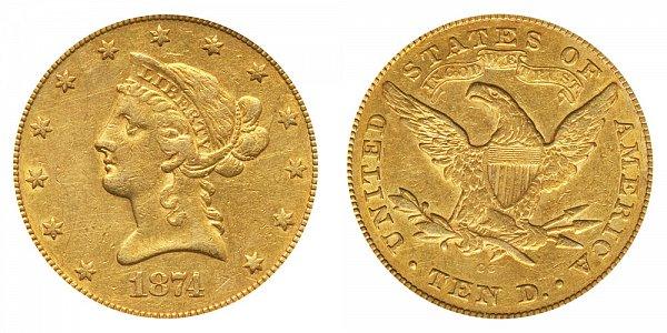 1874 CC Liberty Head $10 Gold Eagle - Ten Dollars