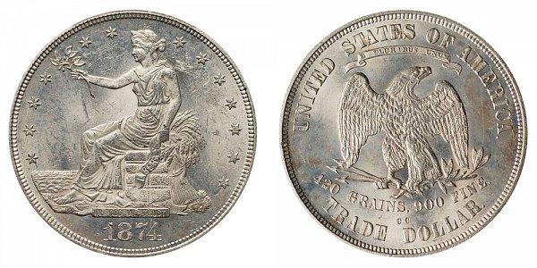 1874 CC Trade Silver Dollar