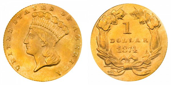 1874 Large Indian Princess Head Gold Dollar G$1