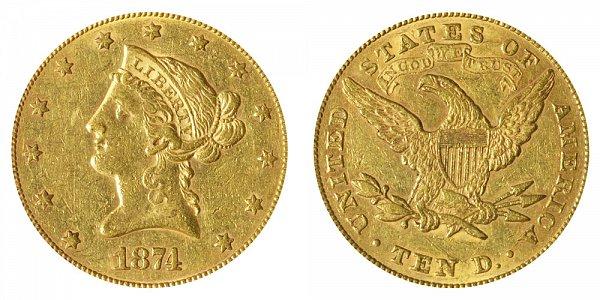 1874 Liberty Head $10 Gold Eagle - Ten Dollars