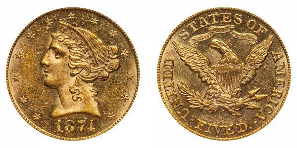1874 Liberty Head $5 Gold Half Eagle - Five Dollars