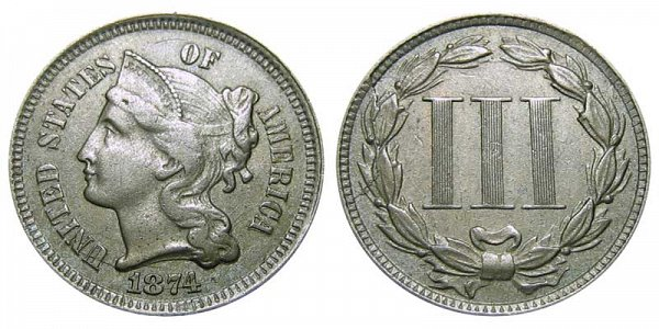 1874 Nickel Three Cent Piece