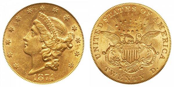 1874 S Liberty Head $20 Gold Double Eagle - Twenty Dollars