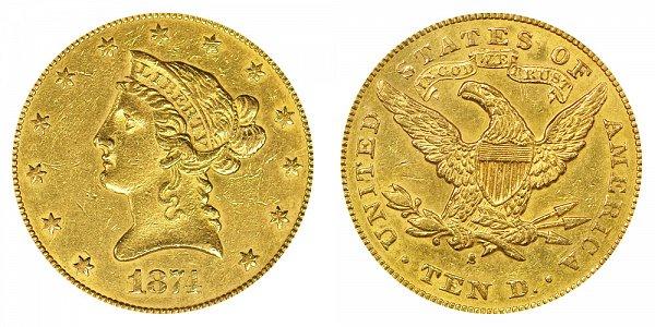 1874 S Liberty Head $10 Gold Eagle - Ten Dollars