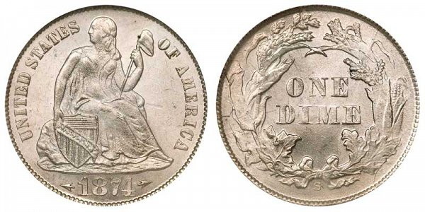 1874 S Seated Liberty Dime - With Arrows At Date