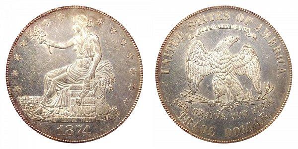 1874 Trade Silver Dollar