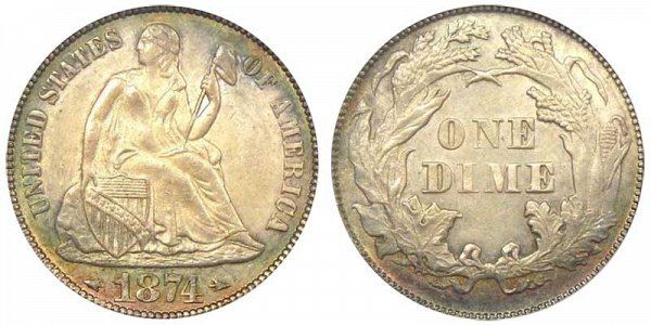 1874 Seated Liberty Dime - With Arrows At Date