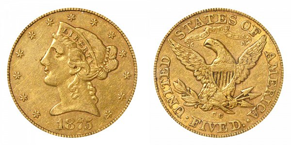 1875 CC Liberty Head $5 Gold Half Eagle - Five Dollars