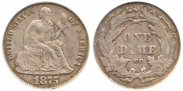 1875 CC Seated Liberty Dime - Mint Mark Above Bow