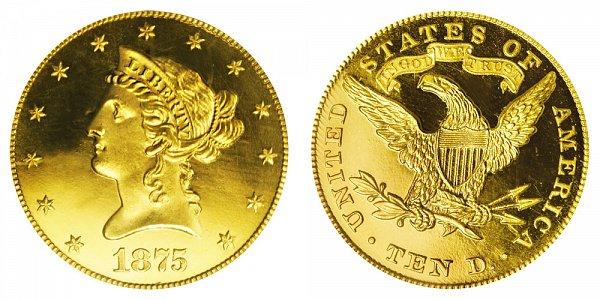 1875 Liberty Head $10 Gold Eagle - Ten Dollars
