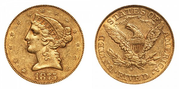 1875 S Liberty Head $5 Gold Half Eagle - Five Dollars