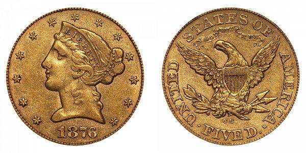 1876 CC Liberty Head $5 Gold Half Eagle - Five Dollars
