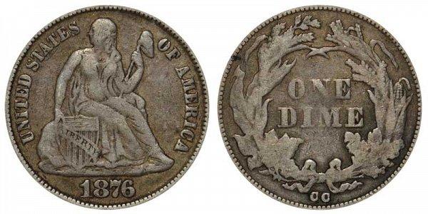 1876 CC Seated Liberty Dime