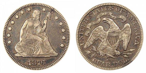 1876 CC Seated Liberty Quarter