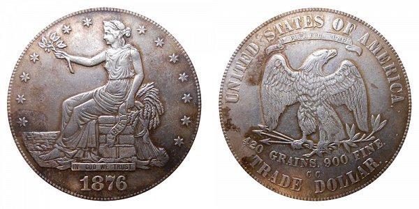 1876 CC Trade Silver Dollar - Type 1 Obverse - Type 1 Reverse