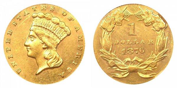 1876 Large Indian Princess Head Gold Dollar G$1