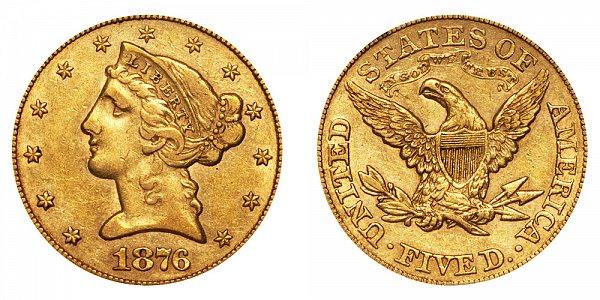 1876 Liberty Head $5 Gold Half Eagle - Five Dollars