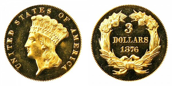 1876 Indian Princess Head $3 Gold Dollars - Three Dollars - Proof Only