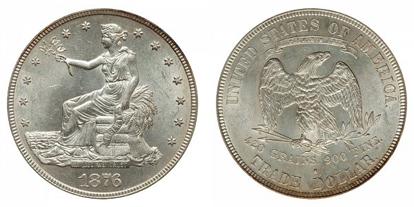 1876 S Trade Silver Dollar - Type 2 Obverse - Type 2 Reverse