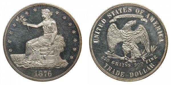 1876 Trade Silver Dollar - Type 1 Obverse - Type 2 Reverse
