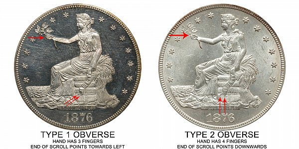 1876 Type 1 Obverse vs Type 2 Obverse Trade Silver Dollar - Difference and Comparison