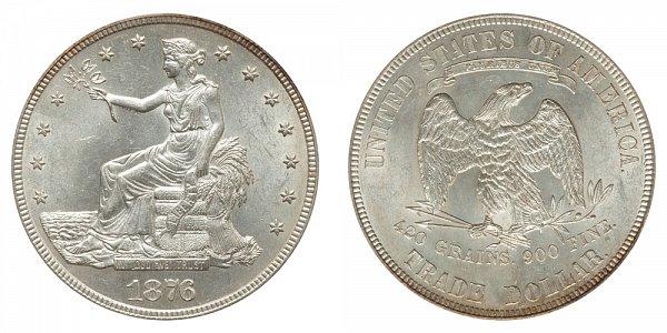 1876 Trade Silver Dollar - Type 2 Obverse - Type 2 Reverse