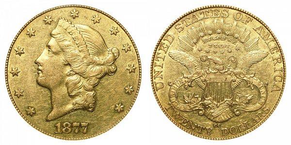 1877 CC Liberty Head $20 Gold Double Eagle - Twenty Dollars