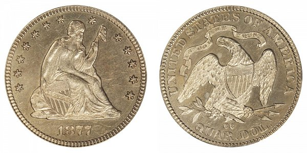 1877 CC Seated Liberty Quarter