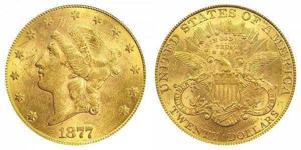 1877 Liberty Head $20 Gold Double Eagle - Twenty Dollars