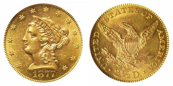 1877 S Liberty Head $2.50 Gold Quarter Eagle - 2 1/2 Dollars