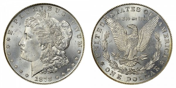 1878 Morgan Silver Dollar - 7 Tail Feathers - Reverse of 1879