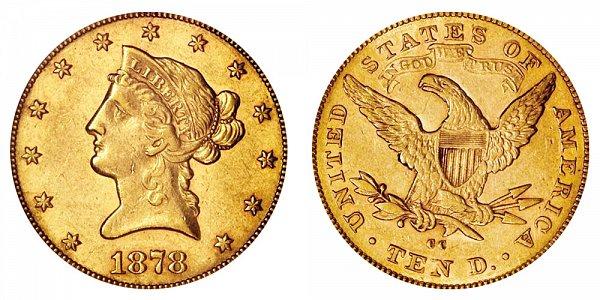 1878 CC Liberty Head $10 Gold Eagle - Ten Dollars