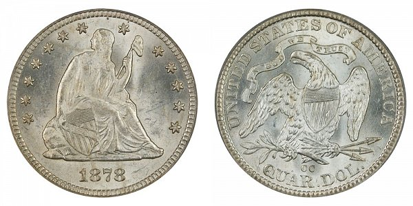 1878 CC Seated Liberty Quarter
