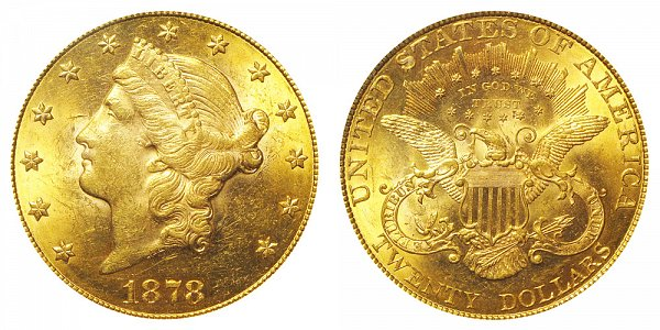 1878 Liberty Head $20 Gold Double Eagle - Twenty Dollars
