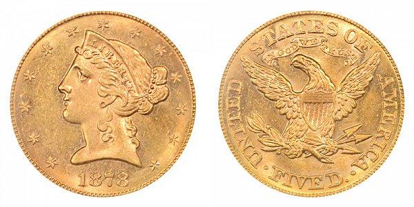 1878 Liberty Head $5 Gold Half Eagle - Five Dollars