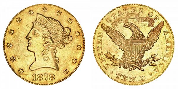 1878 S Liberty Head $10 Gold Eagle - Ten Dollars
