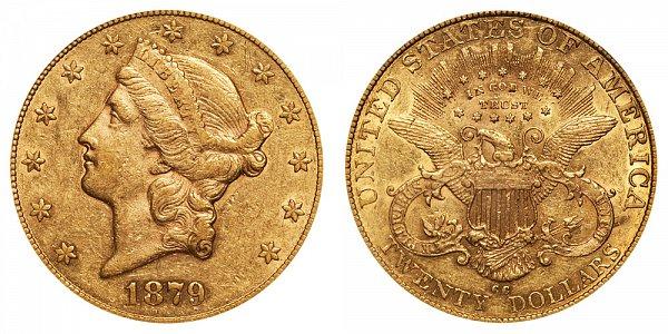 1879 CC Liberty Head $20 Gold Double Eagle - Twenty Dollars