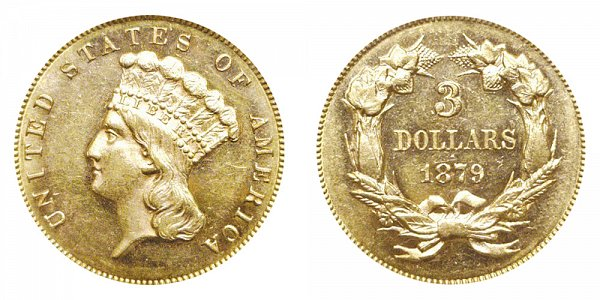 1879 Indian Princess Head $3 Gold Dollars - Three Dollars