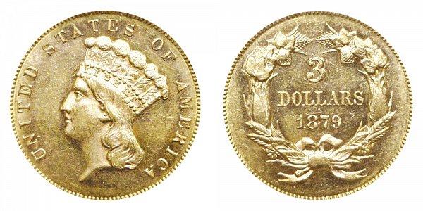 1879 Indian Princess Head $3 Gold Dollars - Three Dollars