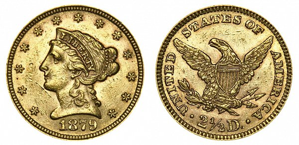 1879 Liberty Head $2.50 Gold Quarter Eagle - 2 1/2 Dollars